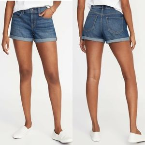 Old Navy Mid-Rise Cuffed Jean Shorts Fitted 10